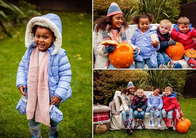 Kids in winter jackets outside