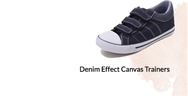 Whether you call them sneakers or trainers, these denim canvas pumps are a cool footwear option for your kids