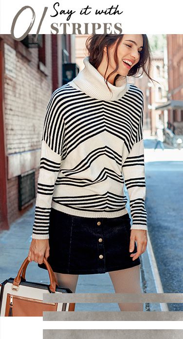 Swap your nautical stripes for diagonal striped knitwear with pieces like this chunky roll-neck jumper