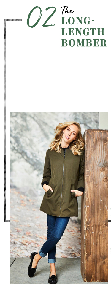 Perfect for fall, check out the long-length khaki bomber that works with every outfit at George.com