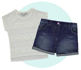 white t-shirt / denim shorts