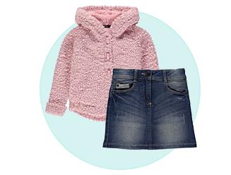pink coat denim skirt