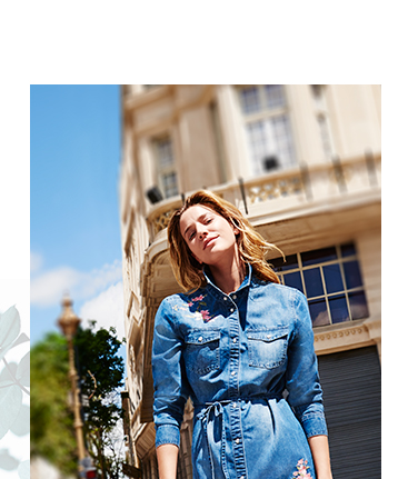 Hit the town with our cool embroidered denim dress at George.com