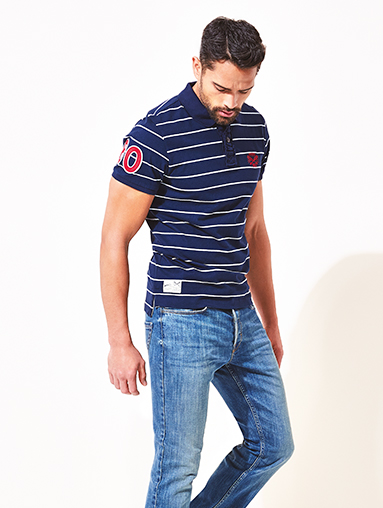 Get set for summer with men's striped polo shirts from George at ASDA
