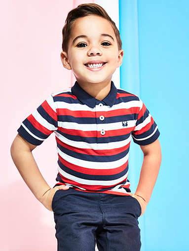 Red white and blue is the coolest boys' fashion trend – find striped polos, trainers and England t-shirts from George at ASDA