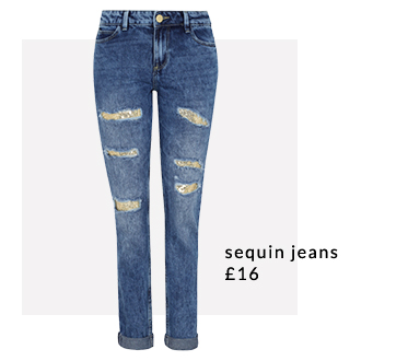 Switch up your basics with sequin jeans at George.com