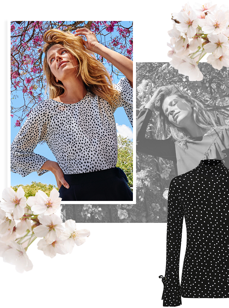 For spot on style, channel our polka dot print chiffon tops at George.com