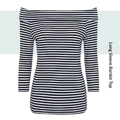 Long sleeved Bardot tops, striped tops and off-the-shoulder tops are just waiting for you here at George at ASDA