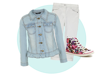 denim jacket white jeans trainers
